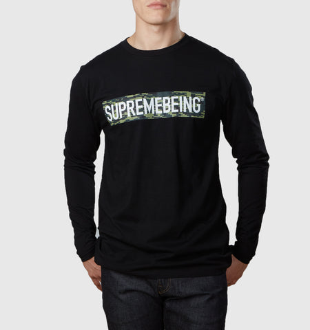 Supremebeing Camouflage Background L/S T-Shirt Black