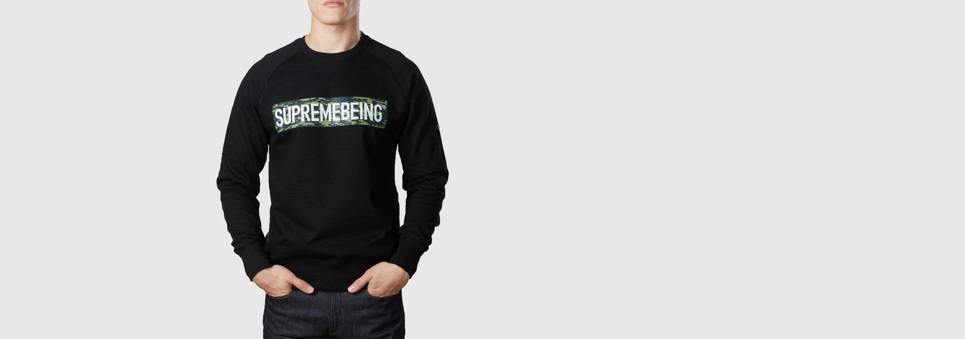 Supremebeing Camouflage Background Organic Cotton Sweat Black
