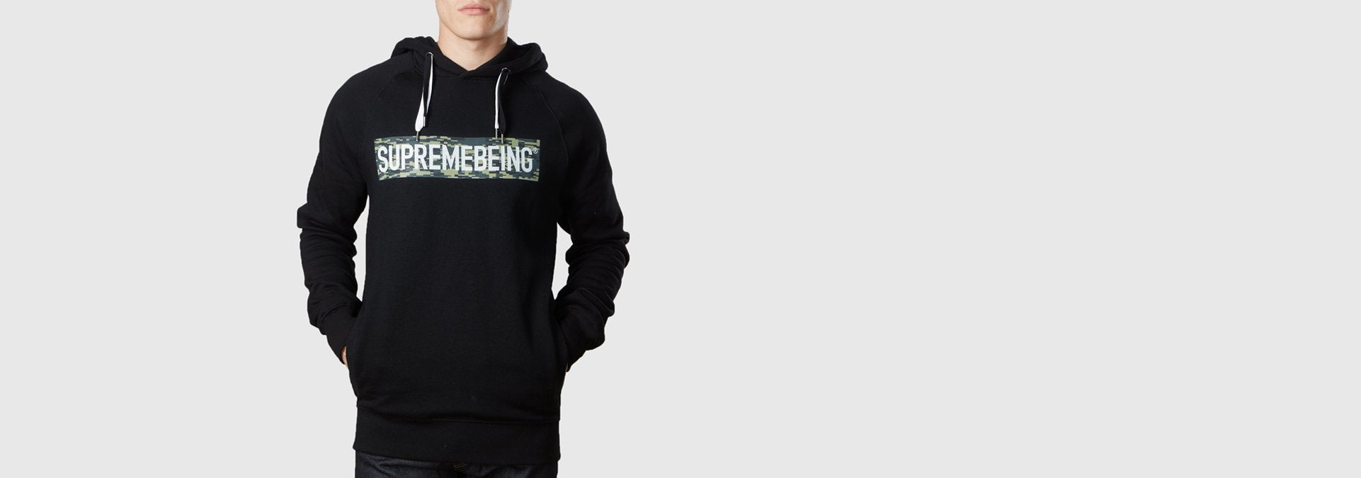 Supremebeing Camouflage Background Organic Cotton Hoodie Black