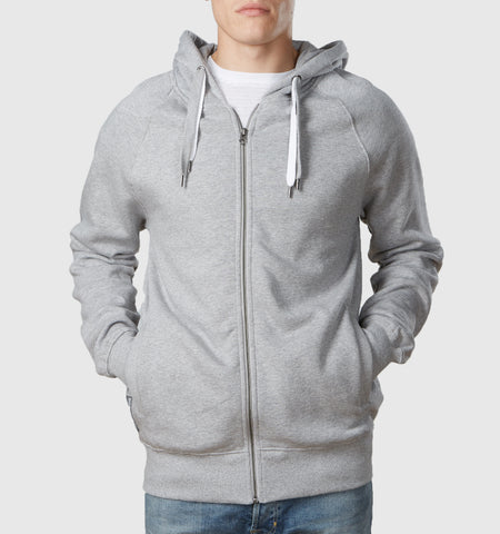 Core Organic Cotton Zip Through Hoodie Melange Grey