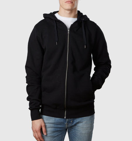 Core Organic Cotton Zip Through Hoodie Black