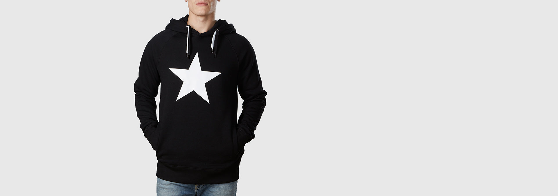 White Star Organic Cotton Hoodie Black