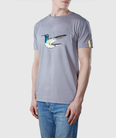 Humming Bird Organic Cotton T-Shirt Light Grey