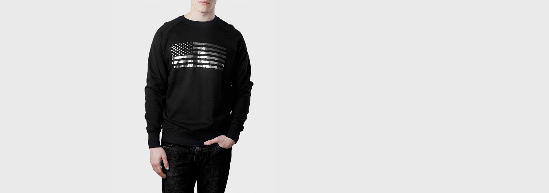 US Flag Organic Cotton Sweat Black