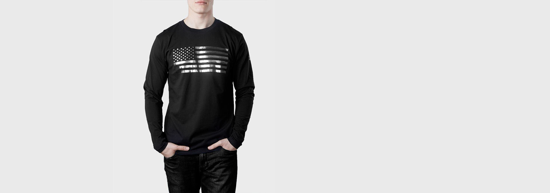 US Flag Organic Cotton L/S T-Shirt Black
