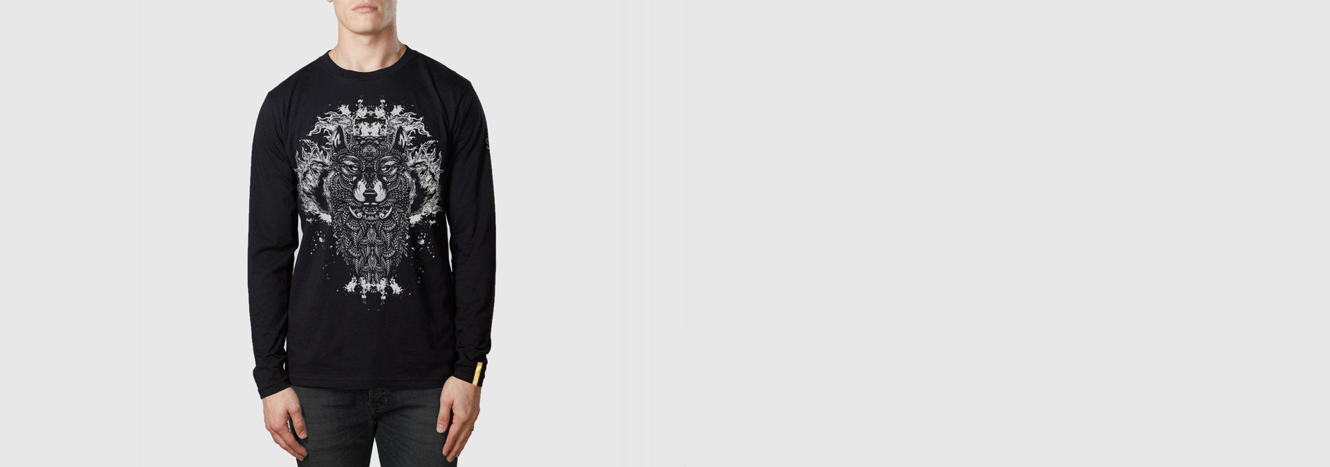 Wolf Tattoo L/S T-Shirt Black