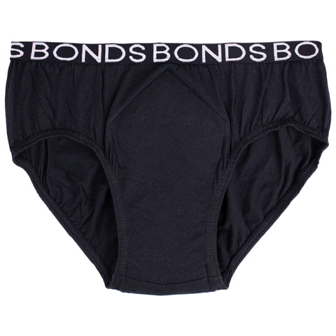 Boy's Washable Incontinence Underwear (BONDS) with incontinence pad (Single, Black)