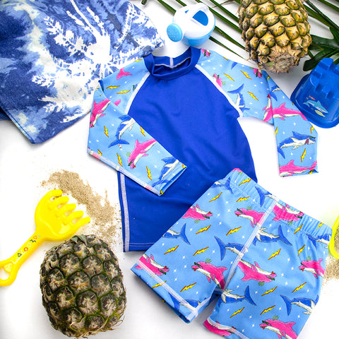NIGHT N DAY x MULGA Kid's Incontinence Swim Shorts and Long Sleeve Rash Top SET