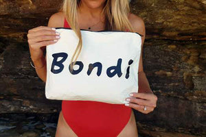 Bondi beach bag, designed in Bondi. Perfect for all lovers of Bondi beach. The perfect splash bag to store your wet swim gear.