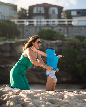 sustainable swimwear for kids, designed at Bondi Beach, unisex swimwear, made from recycled ocean plastic
