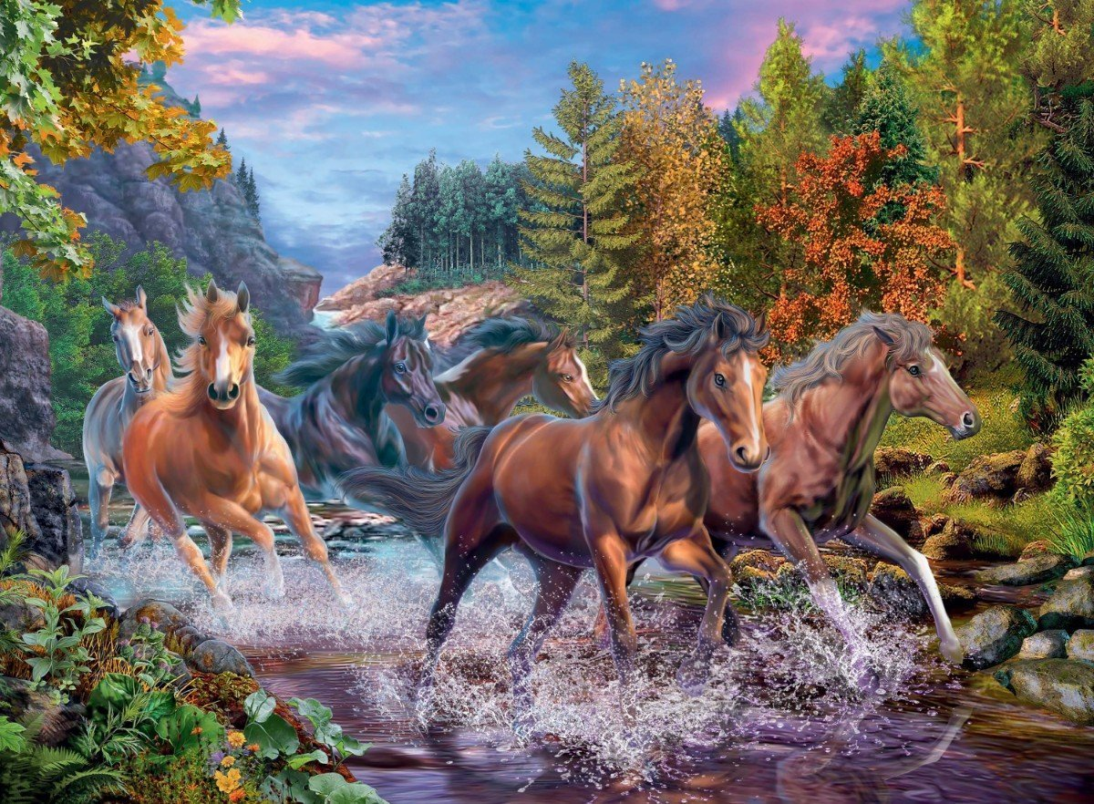 Rushing River Horses 100XXL Piece Jigsaw Puzzle