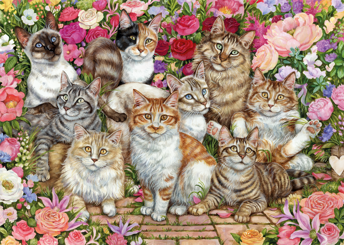 Floral Cats 1000 Piece Jigsaw Puzzle