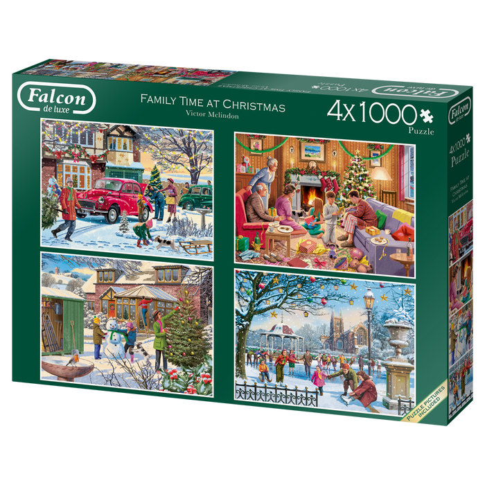 Family Time at Christmas - Falcon de Luxe 4 x 1000 Piece Jigsaw Puzzle