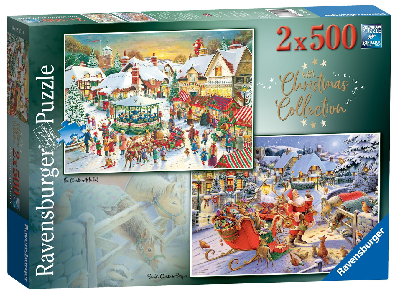 Christmas Collection No 1 - Christmas Market & Santa's Christmas Supper 2 x 500 Piece Jigsaw Puzzles
