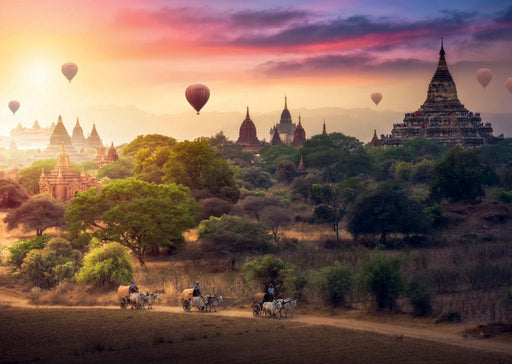 Hot Air Balloons over Myanmar 1000 Piece Jigsaw Puzzle
