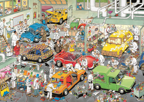 Jan van Haasteren In the Car Respraying Shop 500 Piece Jigsaw Puzzle