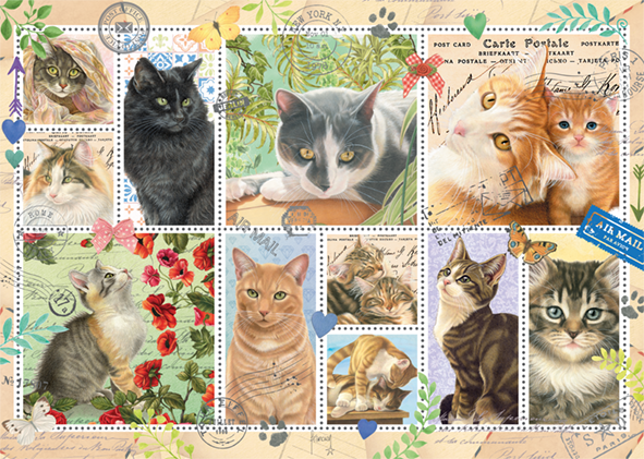 Cat Stamps 1000 Piece Jigsaw Puzzle