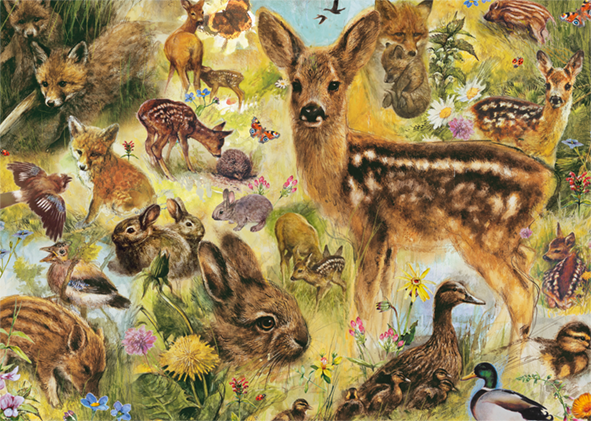 Young Wildlife 1000 Piece Jigsaw Puzzle