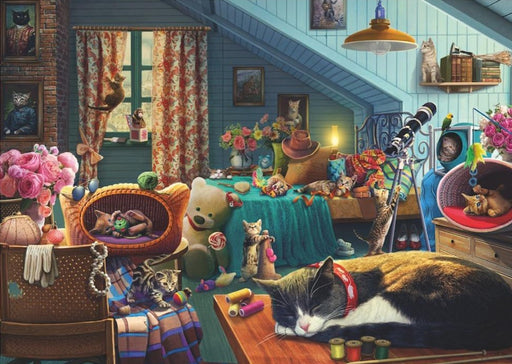 Cats in the Attic - Falcon de Luxe 500 Piece Jigsaw Puzzle