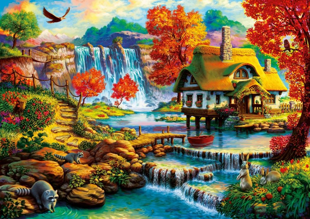 Country House by the Water Fall 1000 Piece Jigsaw Puzzle