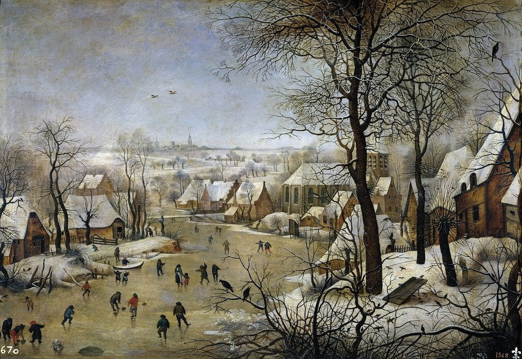Winter Landscape with a Bird Trap - Pieter Brueghel The Younger 1000 or 500 Piece Jigsaw Puzzle
