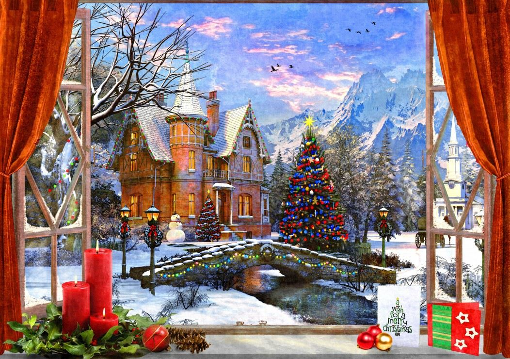 Christmas Mountain View 1500 Piece Jigsaw Puzzle