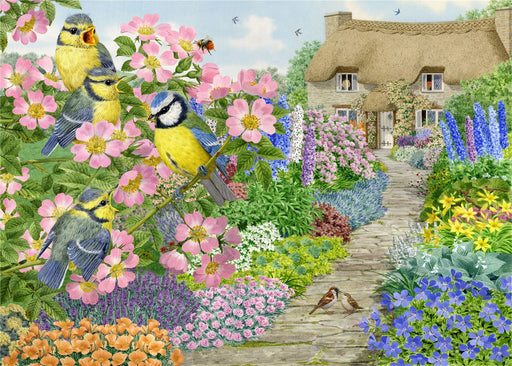 Cottage Garden Birds - Sarah Adams 1000 and 500 Piece Jigsaw Puzzle