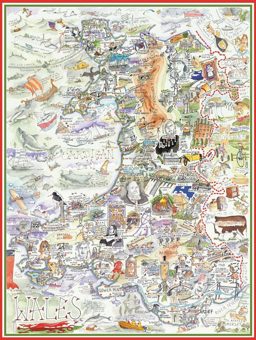 Tim Bulmer 1000 Piece Map of Wales Jigsaw Puzzle