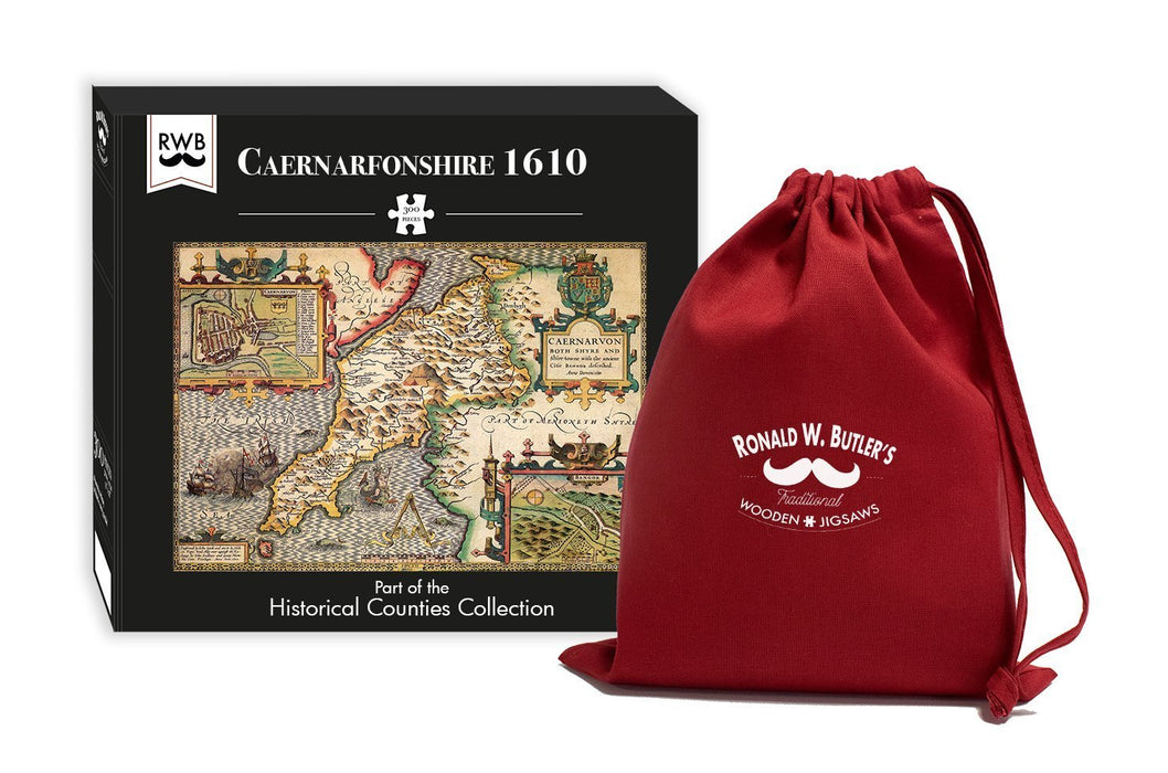 Caernarfonshire 1610 Historical Map 300 Piece Wooden Jigsaw Puzzle