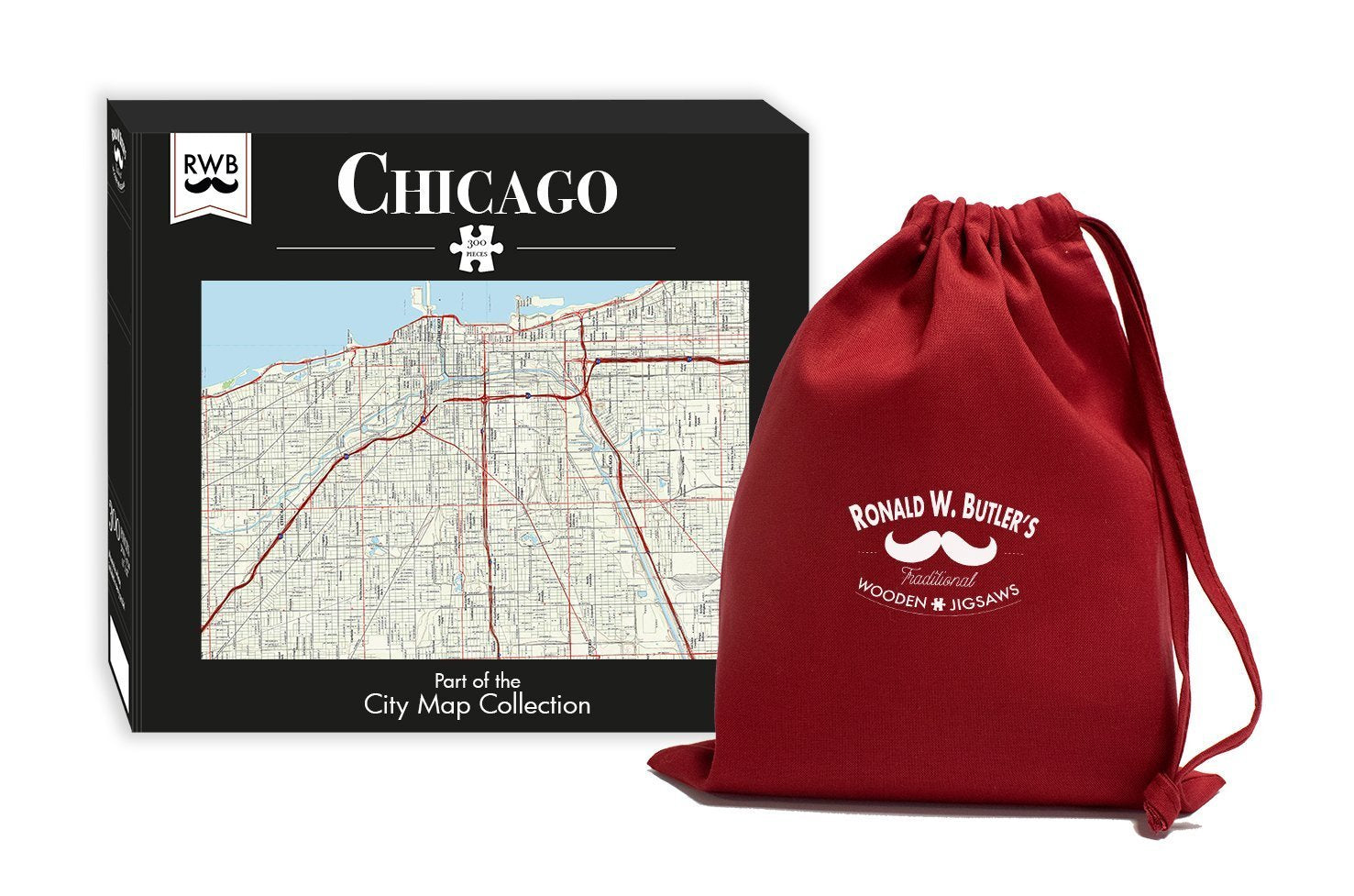 Chicago City Map Jigsaw Puzzle - 300 Piece Wooden Jigsaw Puzzle