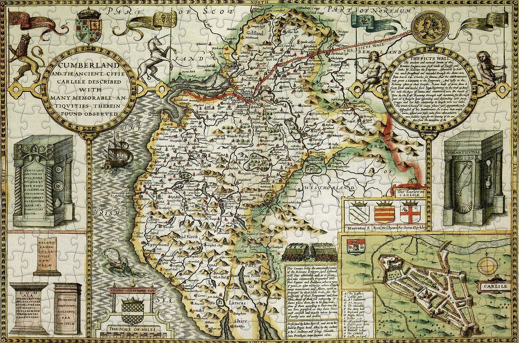 Cumberland 1610 Historical Map 300 Piece Wooden Jigsaw Puzzle