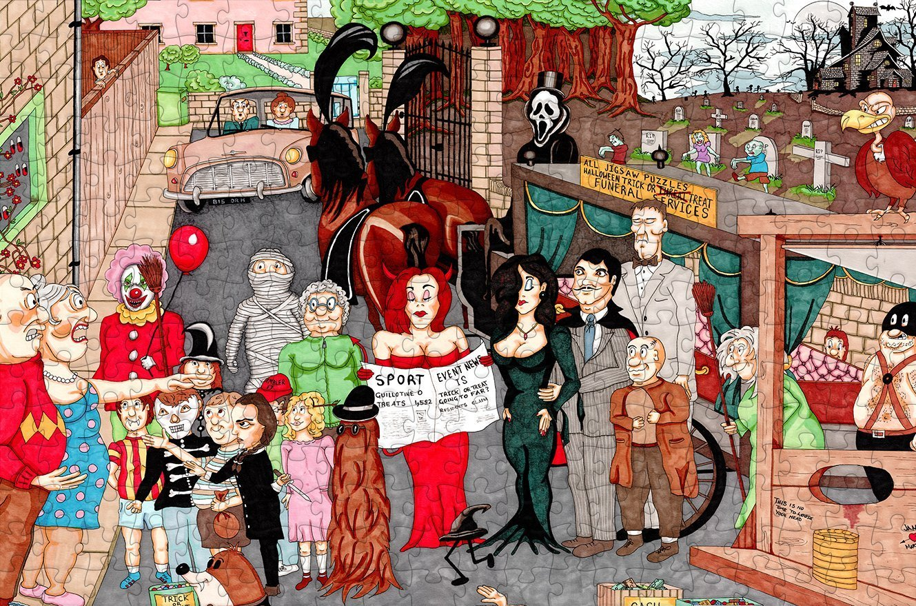 Halloween - Ambler Cartoon Collection 300 Piece Wooden Jigsaw Puzzle