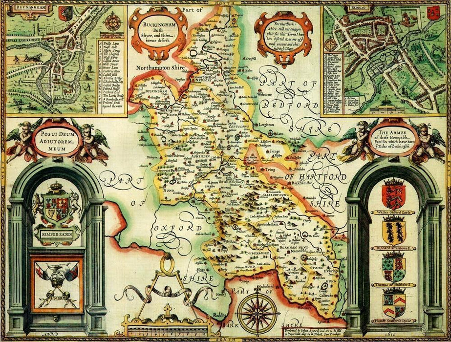 Buckinghamshire Historical Map 1000 Piece Jigsaw Puzzle (1610) - All Jigsaw Puzzles UK  - 1