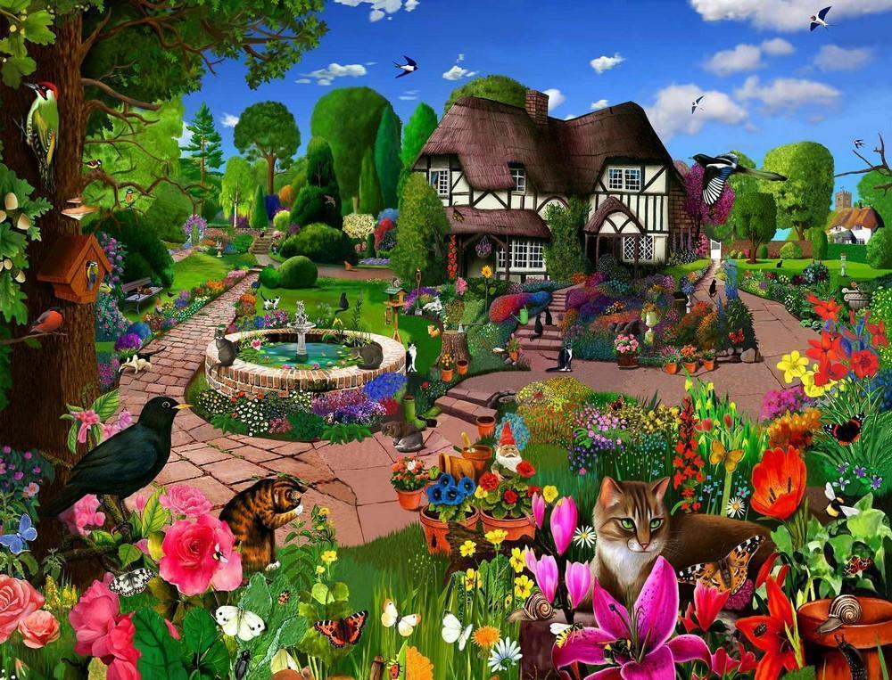Jigsaw Puzzle - Cats In A Cottage Garden 1000 Or 500 Piece Jigsaw Puzzles