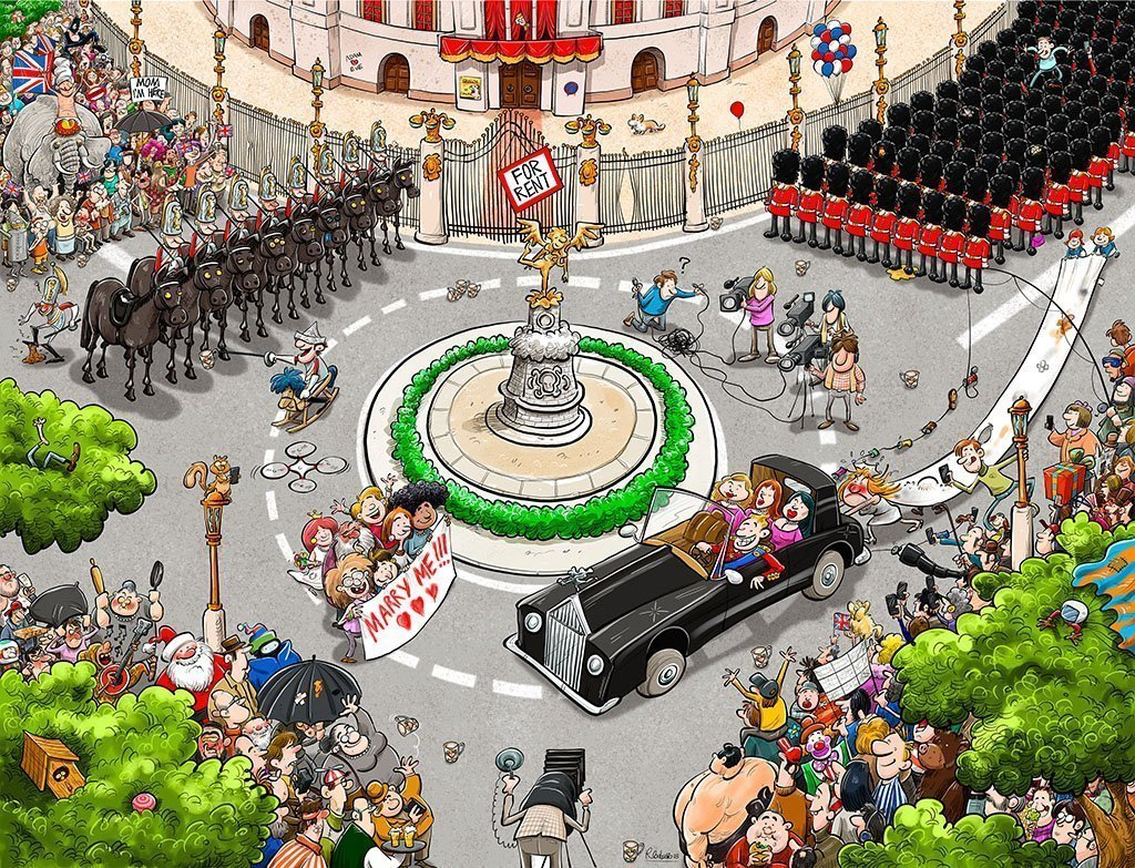Jigsaw Puzzle - Chaos At The Royal Wedding 1000 Or 500 Piece Jigsaw Puzzle