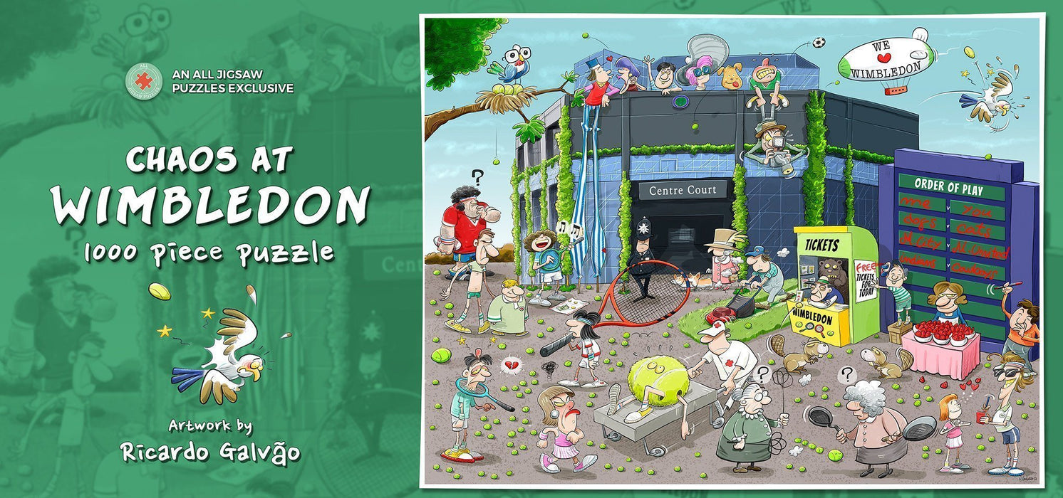 Jigsaw Puzzle - Chaos At Wimbledon 1000 Or 500 Piece Jigsaw Puzzles