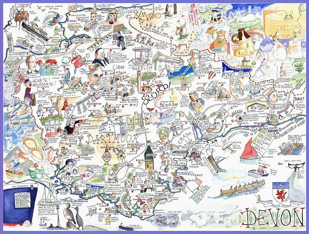 Jigsaw Puzzle - Comical Map Of Devon - Tim Bulmer 1000 Piece Jigsaw Puzzle