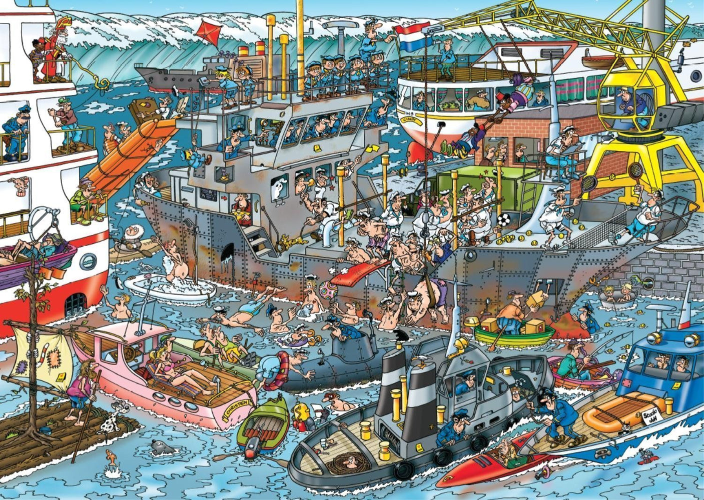Jan van Haasteren Sea Port 500 Piece Jigsaw Puzzle - All Jigsaw Puzzles UK  - 1