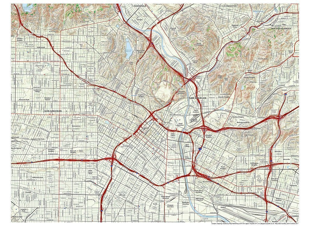 Jigsaw Puzzle - Los Angeles City Map Jigsaw Puzzle - 1000 Pc. Jigsaw Puzzle