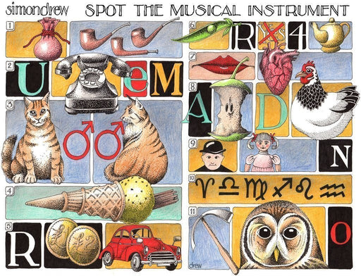 Jigsaw Puzzle - Spot The Musical Instrument - Simon Drew - 1000 Or 500 Piece Jigsaw