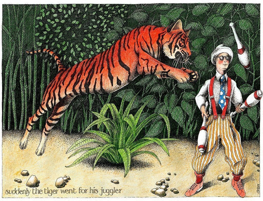 Jigsaw Puzzle - Suddenly The Tiger Went For His Juggler - Simon Drew - 1000 Or 500 Piece Jigsaw
