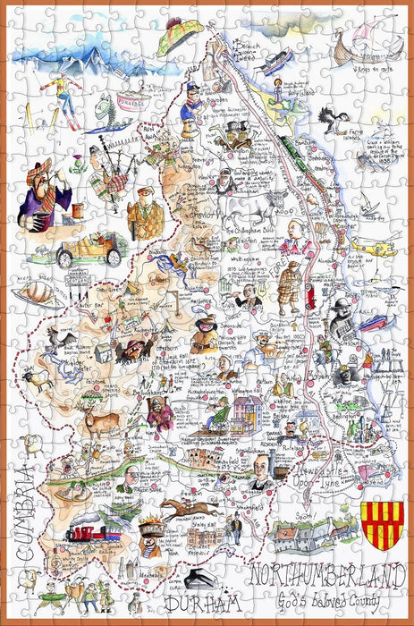 Map of Northumberland - Tim Bulmer - 300 Piece Wooden Jigsaw Puzzle
