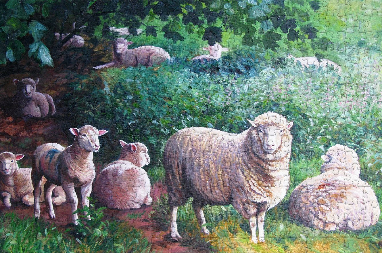 Sheep in the Shade 300 Piece Wooden Jigsaw Puzzle