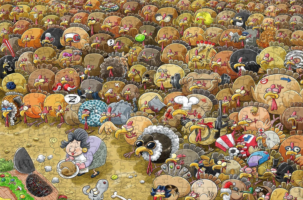 Christmas Chaos at Turkey Farm 300 Piece Wooden Jigsaw Puzzle