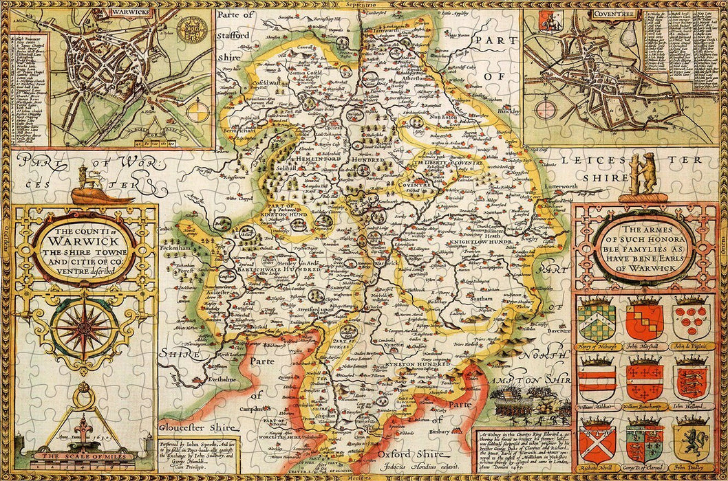 Warwickshire 1610 Historical Map 300 Piece Wooden Jigsaw Puzzle