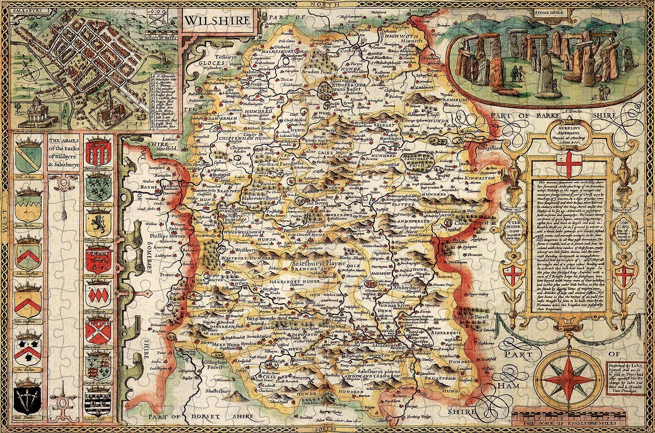 Wiltshire 1610 Historical Map 300 Piece Wooden Jigsaw Puzzle