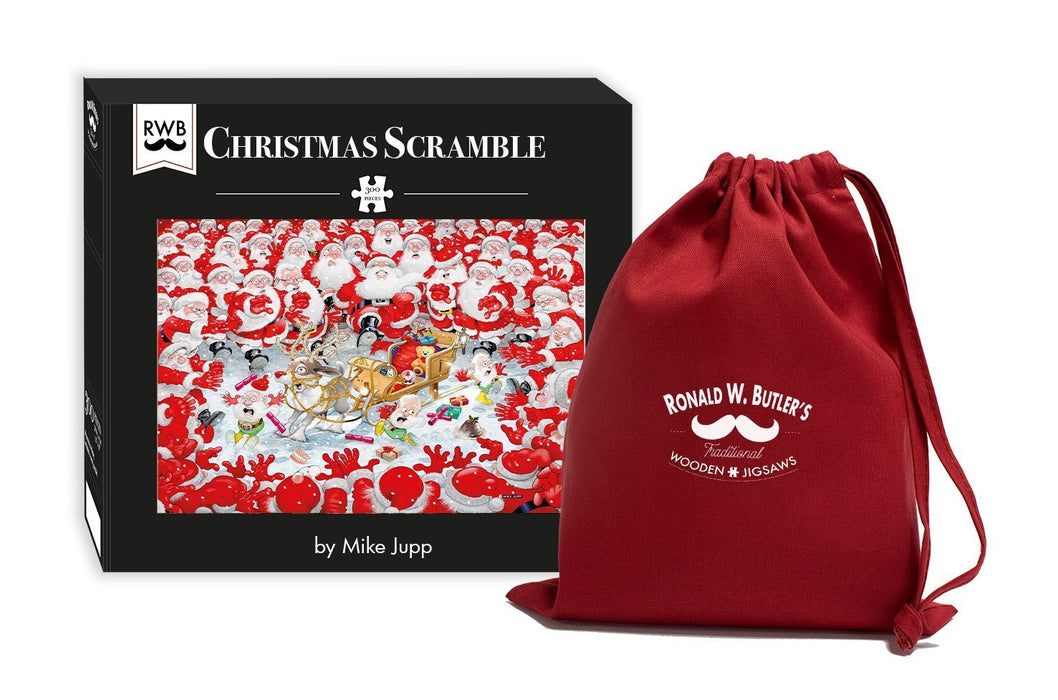 Christmas Scramble - Mike Jupp 300 Piece Wooden Jigsaw Puzzle