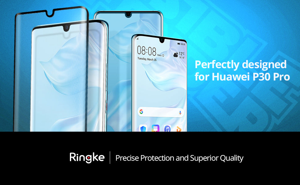 Ringke Invisible Defender Full Coverage Tempered Glass Compatible with Huawei P30 Pro