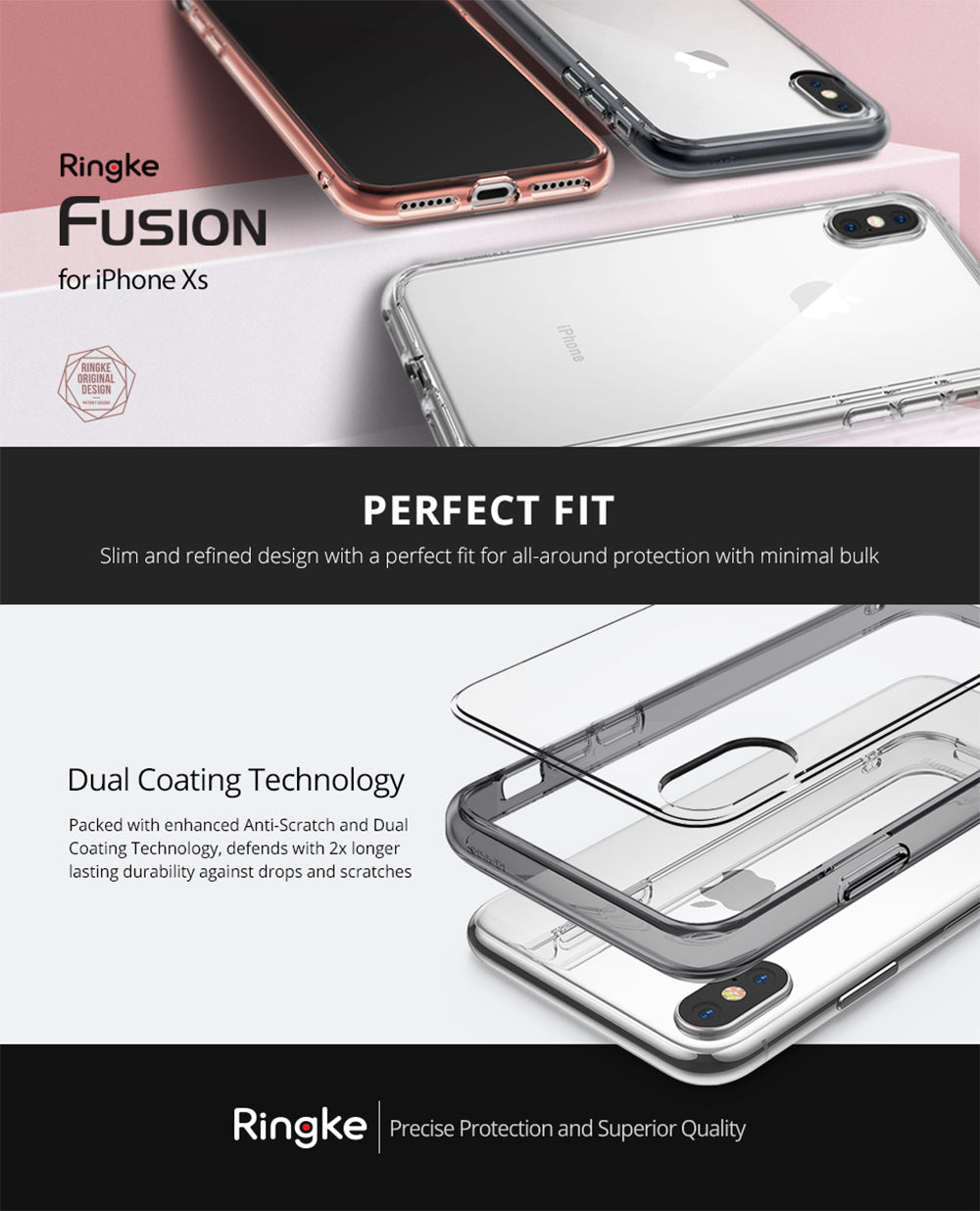 ringke fusion case designed for iphone xs