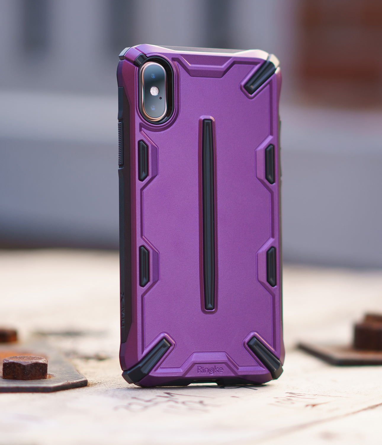 ringke dual-s for iphone xs case cover main metallic purple